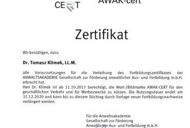 Certyfikat Jakości Dokształcania - Prawo do korzystania z marki (znaku towarowego) AWAK-Cert